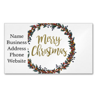 Watercolor wreath - merry christmas - branches business card magnet