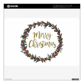 Watercolor wreath - merry christmas - branches decal for the MacBook
