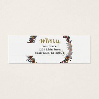 Watercolor wreath - merry christmas - branches mini business card