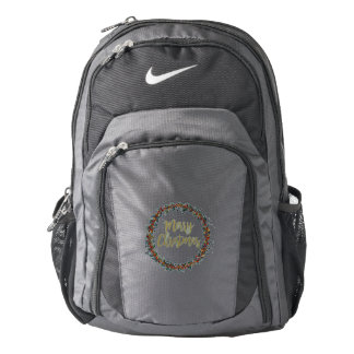 Watercolor wreath - merry christmas - branches nike backpack