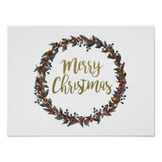 Watercolor wreath - merry christmas - branches poster