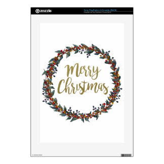 Watercolor wreath - merry christmas - branches PS3 decal