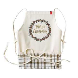 Watercolor wreath - merry christmas - branches zazzle HEART apron