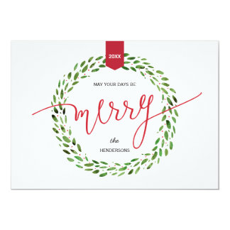 Watercolor Wreath | Modern Holiday Non-Photo 5x7 Paper Invitation Card