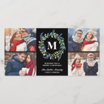 Watercolor Wreath Monogram 4 Photo Holiday
