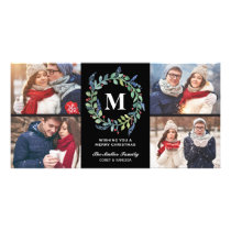 Watercolor Wreath Monogram 4 Photo Holiday Card