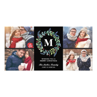 Watercolor Wreath Monogram 4 Photo Holiday Photo Card