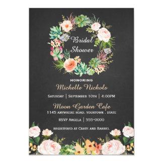 Watercolor Wreath on Chalkboard Bridal Shower Card