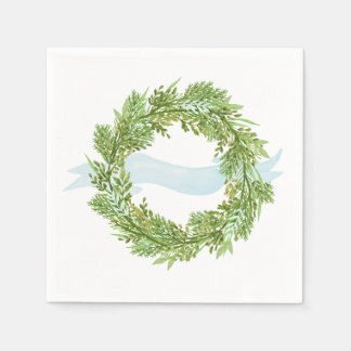 Watercolor wreath with blue ribbon paper napkin