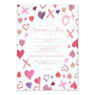 Watercolor XOXO Valentine's Day Party Invitations