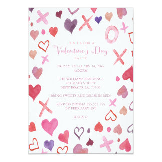 watercolor xoxo valentines day party invitations