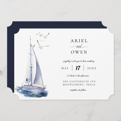 Watercolor Yacht Nautical Theme Wedding Invitation