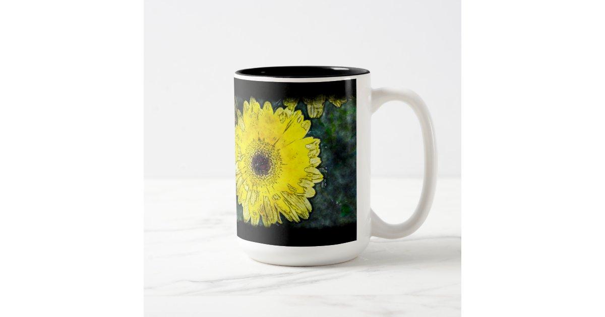 Watercolor Yellow Daisy on Black Two-Tone Coffee Mug