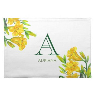 Professional Business Watercolor Yellow Day Lilies Floral Art Monogram Placemat