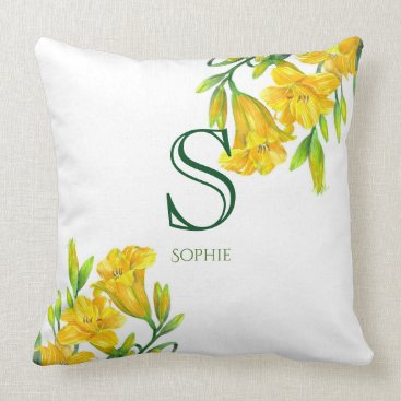 Professional Business Watercolor Yellow Day Lilies Floral Art Monogram Throw Pillow