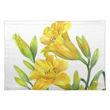 Professional Business Watercolor Yellow Day Lilies Floral Art Placemat