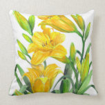Watercolor Yellow Day Lilies Floral Art Throw Pillow