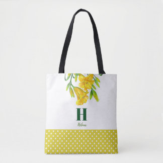 Watercolor Yellow Day Lilies Floral Monogram Tote Bag