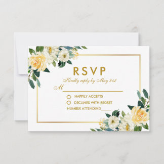 Watercolor Yellow Gold White Floral Wedding RSVP