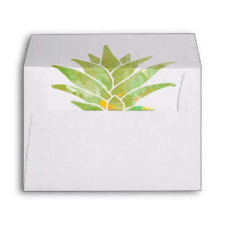 Watercolor Yellow & Green Pineapple Top Stencil | Envelope