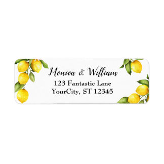 Watercolor Yellow Lemons with Fresh Greenery Label