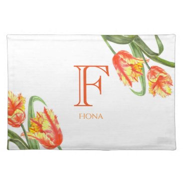 Professional Business Watercolor Yellow Parrot Tulip Floral Art Monogram Cloth Placemat