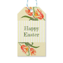 Watercolor Yellow Parrot Tulip Floral Happy Easter Gift Tags