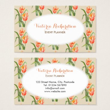 Professional Business Watercolor Yellow Parrot Tulips Floral Art Business Card