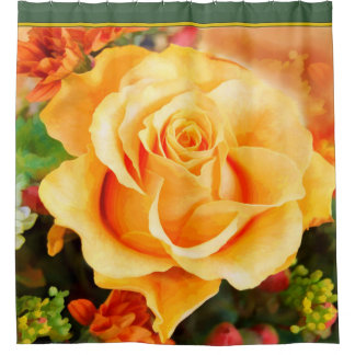 Watercolor Yellow Rose in Full Bloom Shower Curtain