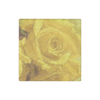 Watercolor Yellow Rose - Marble Magnet Stone Magnet