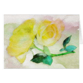 Watercolor Yellow Roses Note Card