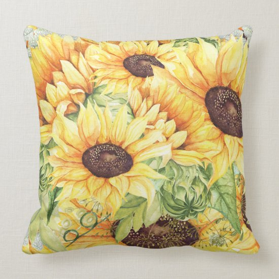 Watercolor Yellow Sunflowers and Greenery Throw Pillow