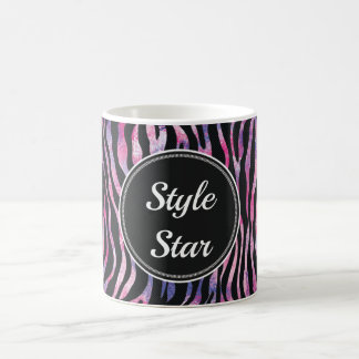 Watercolor Zebra Animal Print Monogram Style Star Coffee Mug
