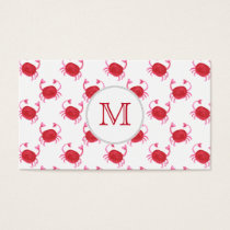watercolorcute red crabs beach design business card