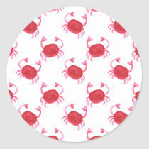 watercolorcute red crabs beach design classic round sticker