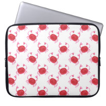 watercolorcute red crabs beach design computer sleeve