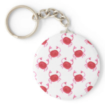 watercolorcute red crabs beach design keychain
