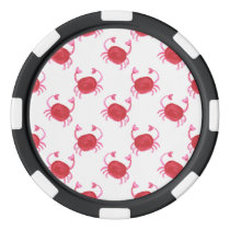 watercolorcute red crabs beach design poker chips set