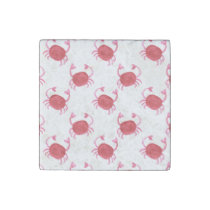 watercolorcute red crabs beach design stone magnet