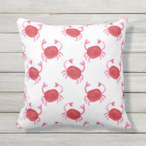 watercolorcute red crabs beach outdoor pillow