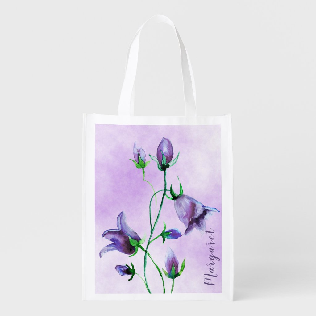 Watercolored bluebells on ultra violet add a name grocery bag