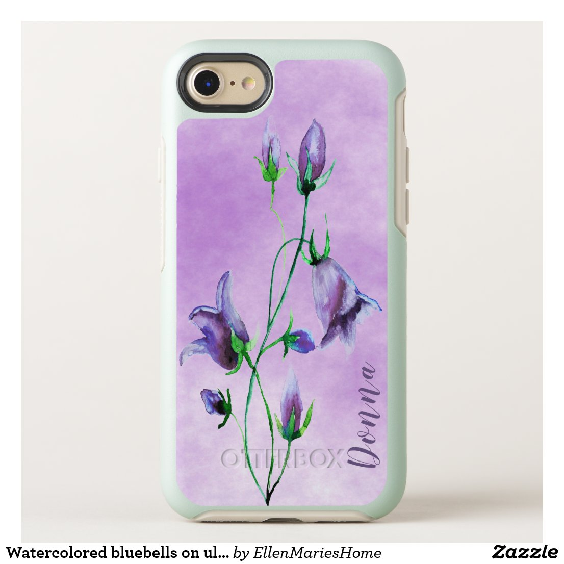 Watercolored bluebells on ultra violet add a name OtterBox symmetry iPhone 8/7 case
