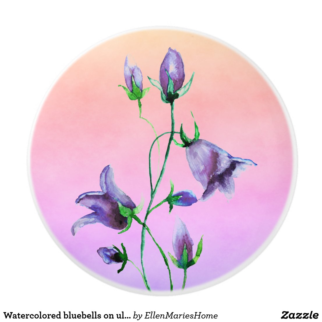 Watercolored bluebells on ultra violet and peach ceramic knob