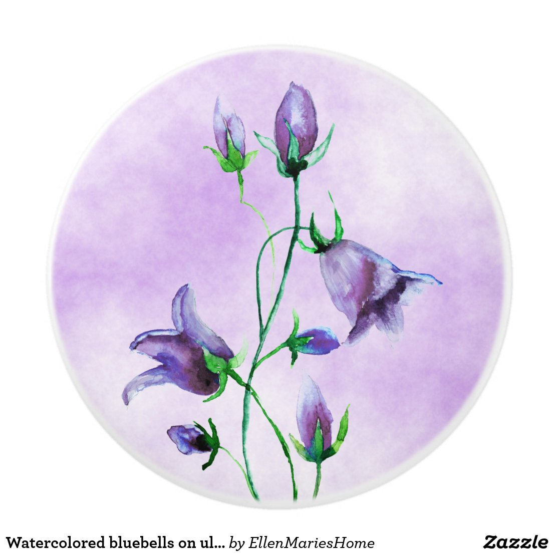 Watercolored bluebells on ultra violet