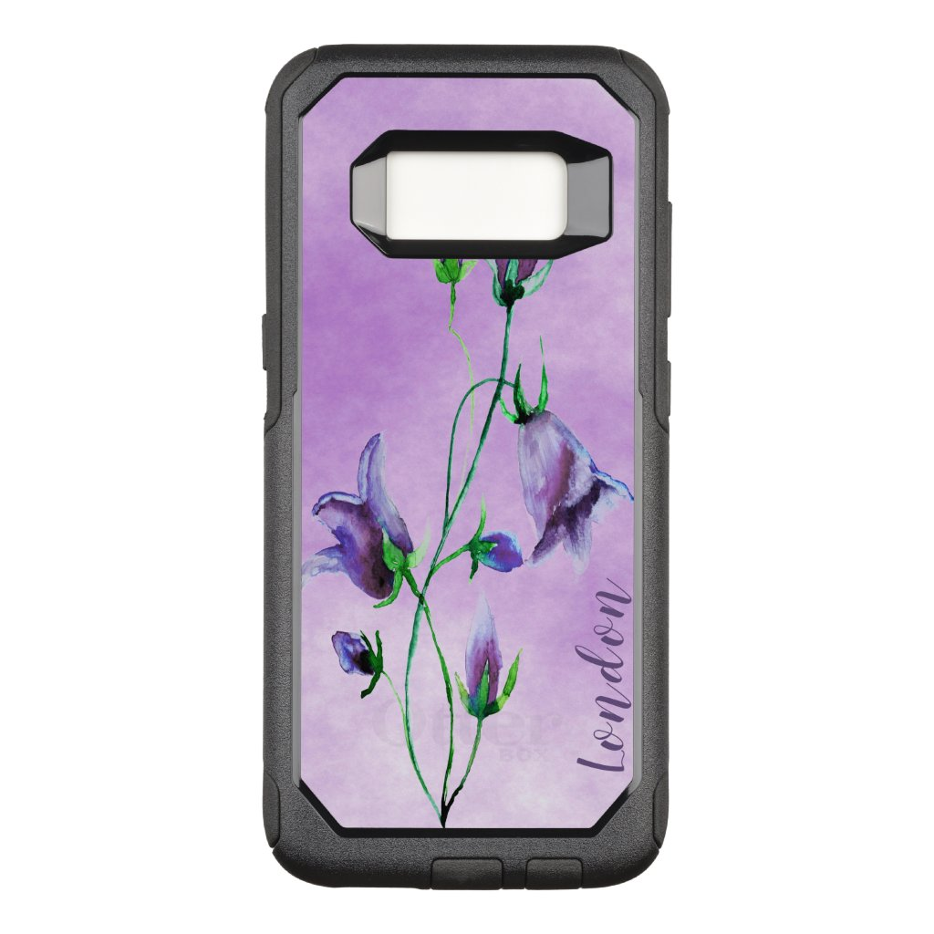 Watercolored bluebells on ultra violet with name OtterBox commuter samsung galaxy s8 case