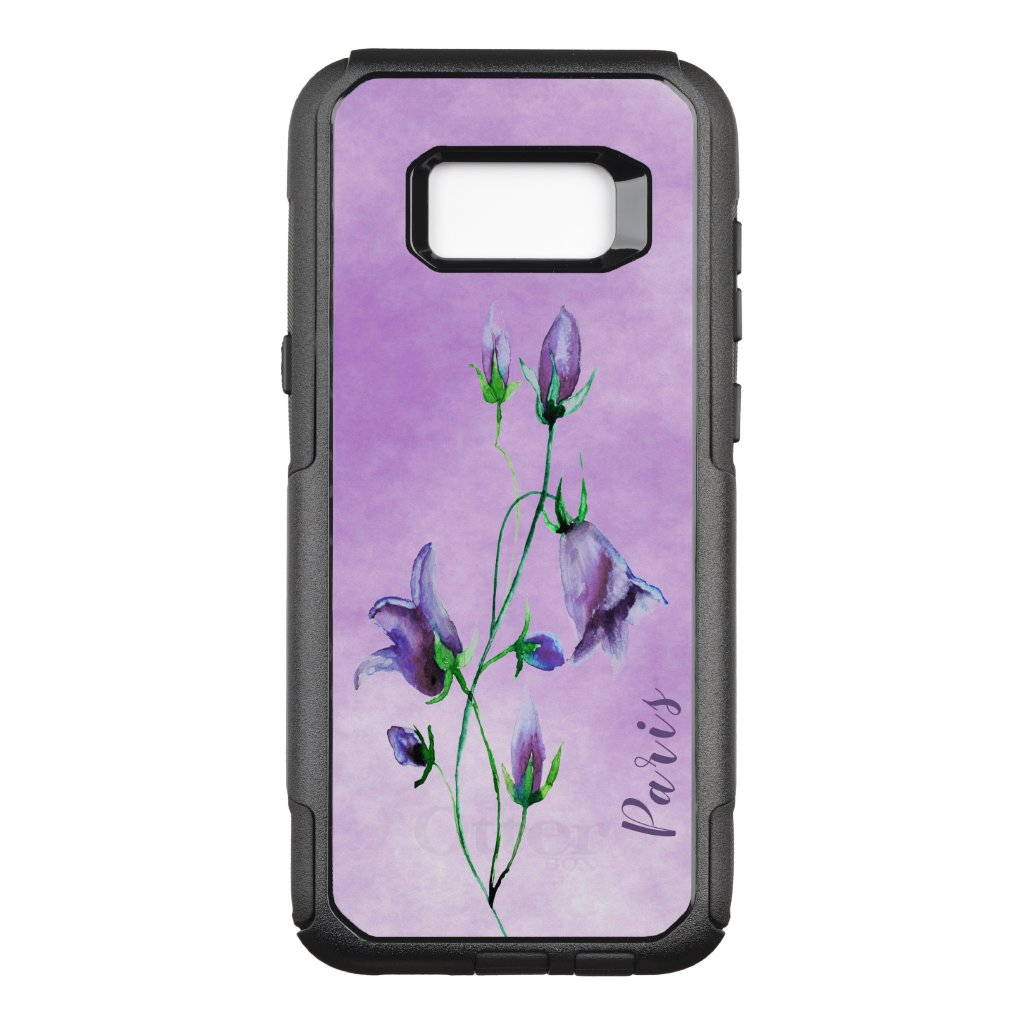 Watercolored bluebells on ultra violet with name OtterBox commuter samsung galaxy s8+ case