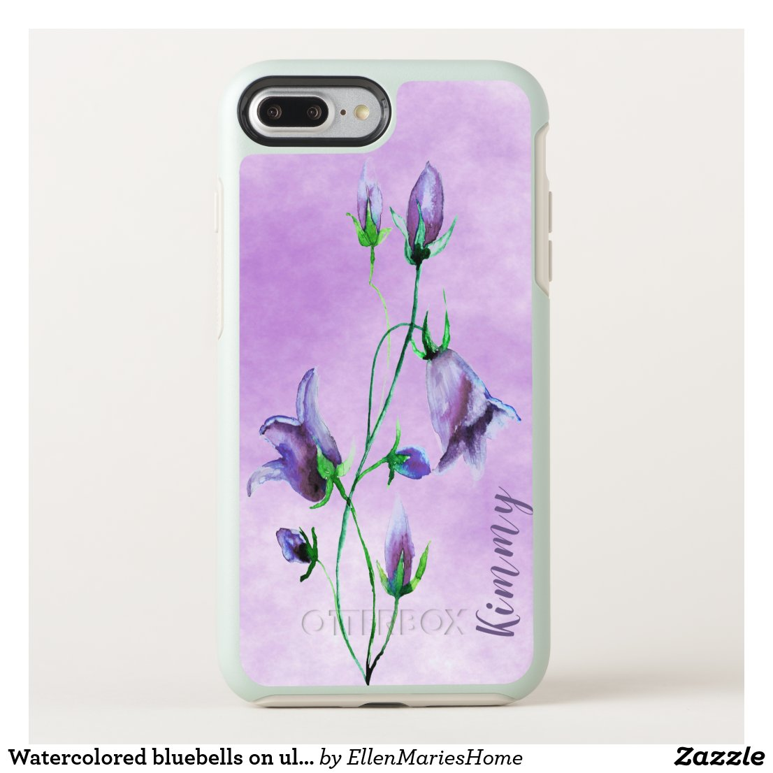 Watercolored bluebells on ultra violet with name OtterBox symmetry iPhone 8 plus/7 plus case