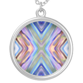 Watercolored - Brightly Colored Abstract Round Pendant Necklace