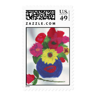 Watercolored painting vase of flowers postage stamps
