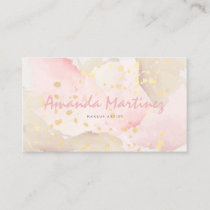 Watercolored Pink & Beige Business Card